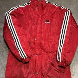 Adidas Puffer Windbreaker Jacket Red/Black/White L
